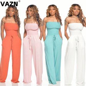 VAZN atractivo dulce señora atractiva 2020 del verano 8 colores sólidos a largo mono recto sin tirantes de moda dama mono elástico de la nueva
