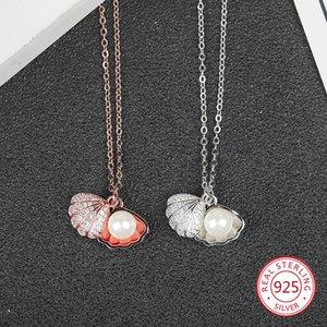 S925 sterling silver colar feminino em forma de leque pérola conch forma pingente incrustado ocre delicado jóias jóias populares Europeus