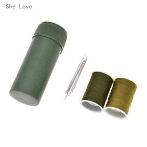 She Love Mini Kit de couture Cylindre Case Voyage portable avec des fils Aiguilles à coudre Artisanat Boîte ARMEE vert