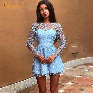 É verão novas mulheres elegantes Evening Partido Mini vestido Céu Azul Bege rosa Long Sleeve Lace A Palavra vestido da celebridade Vestidos