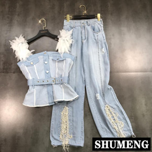 2019 New Summer Feather Mesh Shoulder Denim Sling Tops + Drill Chain Wide Leg Jeans Trousers Two Piece Women Jeans Pants Set