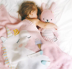Baby Unicorn Blanket Knitted Throw Blanket Soft Warm Cartoon Cute Rainbow Horse Coperte per bambini