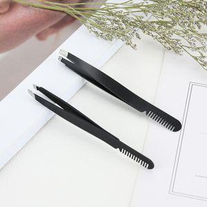 Pinça de sobrancelha Comb Hair Beauty Slanted Extrator de aço inoxidável Brow Eye clipes maquiagem preta Ferramenta
