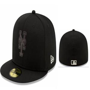 جديد وصول رجل جاهزة القبعات ميتس قبعة بيسبول شقة بريم مطرز شعار فريق المشجعين غطاء كامل مغلقة