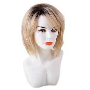 Women Short Fluffy Human Hair Wigs With Cap Heat Resistant Ombre Blonde