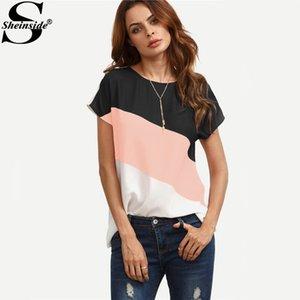 Sheinside Cut Ve Dikmek Patchwork Workwear Tops Renk Bloğu Rahat Bluz Renkli Kısa Kollu Kadın Yaz Bluz Y19050501 Tops