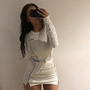 Fashion Reflective Patchwork Sportswear 2pieces Sets Femme 2020 White Knitting Tops Women Tee Mini Shirts Skirts Suits