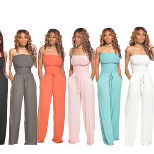 Senza spalline Loose Women tute gamba larga casual pagliaccetti coulisse in vita Tuta da donna Multi Color Abbigliamento 13