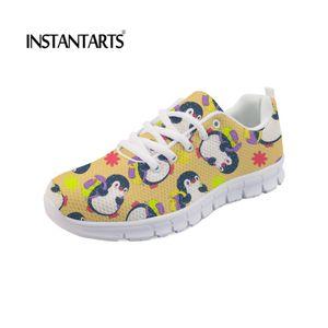 FORUDESIGNS Verão Novas Mulheres Primavera Outono Sapatos Flats Bonito Pinguim Impressão Mulheres Caminhadas Air Mesh Sneakers Respirável Lace Up Flats