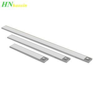 Haoxin 23/40 / 60CM PIR détecteur de mouvement LED sous l'armoire Lumière USB rechargeable Armoire Placard Veilleuse pour la cuisine lampes murales intérieures