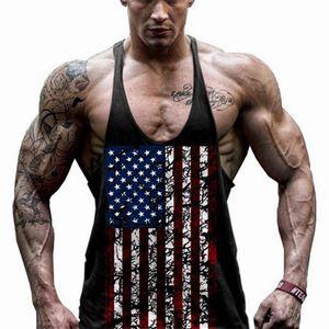 Nuevos hombres de verano EE.UU. Bandera Hombres Tops Tops Chaleco Raglan Tanque Top Entrenamiento Hombres Músculo Culturismo Tank Top Niza