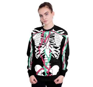 인간의 장기 손 인쇄 혈액 입 패턴 스웨터 연인 풀오버 후드 남성 여성 Holloween 의상 긴 소매 T 셔츠 운동복