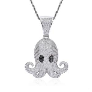 Iced Animal Pctopus Хип-Хоп Кулон С Цепью Веревки Золото Серебристый Цвет Bling Кубический Циркон мужские Ожерелья Ювелирные Изделия Для Подарка