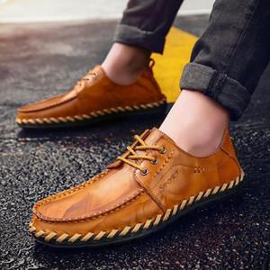 British Style uomini scarpe Business casual in pelle Oxford Nuova 2019 Autumn Lace Up degli appartamenti degli uomini degli uomini Handmade Casual Shoes 2A