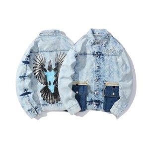 Nuevo diseño chaqueta de la capa de Demin de Eagle Escudo manera de la impresión Escudo Hombres Mujeres HE60 bordado Streetwear
