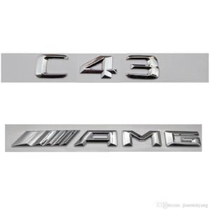 Mercedes Benz C43 AMG 2017 için Chrome Numarası Mektupları Trunk Amblem Rozet Sticker