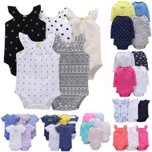 Frete Grátis Novo Algodão Do Bebê Das Meninas Dos Meninos Roupas Bodysuit Set Longo E Manga Curta 3 pcs 4 pcs 5 pcs 6 pcs Pacote J190427