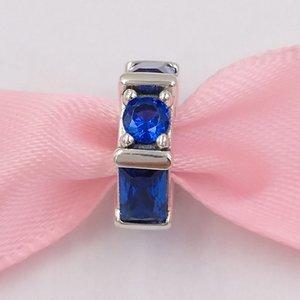 Authentique 925 perles en argent sterling Sculpture de glace Spacer, Charms bleu cristal Fits bijoux européens Style Pandora Bracelets Collier 79752