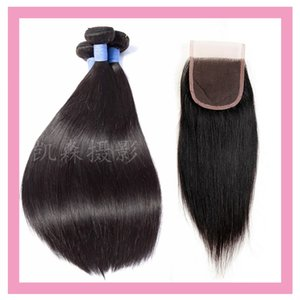 Peruvian Human Hair Straight 8-30inch 3 Bundles With 4X4 Lace Closure Natural Color Mink Silky Straight With Closure Baby Hair
