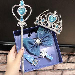Schneekönigin 2 Schneeflocke Haarschmuck 5pcs / satz Kristallbögen Haarklammern Mädchen Prinzessin Crown Magic Sticks Sets Kinder Regenbogen Haarnadeln M840