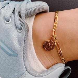 Personalizzati Hexagon Alphabet Bracciali Leg per i gioielli donne in piedi in acciaio inox piedi Catene Amicizia regalo Catene iniziali cavigliera Nuovo