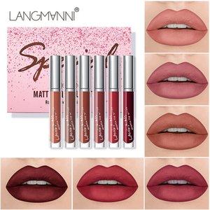 Langmanni 6 pcs Lipstick Set Velvet Matte Lipstick Waterproof Long Lasting Make Up Red Lip Gloss Nude Red Liquid Lip Stick
