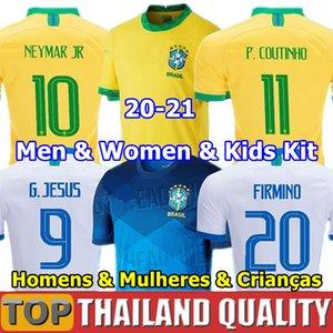 Brasil футбольные майки 2020 Бразилия комплект футболки COUTINHO FIRMINO JESUS 2021 мужчины женщины детский комплект униформа