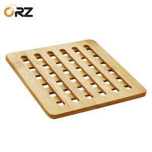 ORZ 3PCS Bambus-Topf-Halter Hitzebeständige Matte Küchenzubehör Dinning Tabelle Tischset Round Pan Pad Trivet Mat T200415