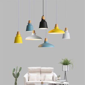 Einfache moderne hängende Deckenleuchten, E27 Holz Aluminium Pendelleuchten, Wohn Restaurant Dekoration Beleuchtung Lampen Nordic Bunte