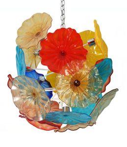 Style Hand Blown Murano Glass Chandelier Pendant Light LED Glass Art Flower Chandelier for Living Room Dining Room Staircase