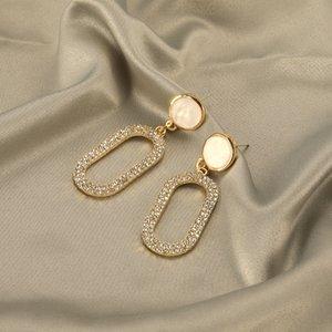 S925 серебряной игла чистых красного темперамент женщина старший чувства полных алмазы овальная форма преувеличена большие серьги длинной женщины