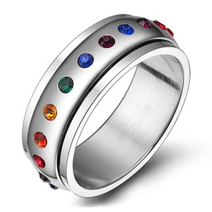 Mens Womens Colorful Cubic Zirconia Inlay LGBT Gay Pride Stainless Steel Rotatable Rainbow Ring