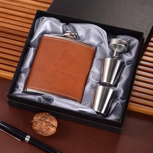 Fiaschetta in acciaio inossidabile da 7 once Set jack Flagon con tazze a imbuto Mini Whisky Flagon Regalo a prova di perdite Pentola per vino portatile all'aperto GGA2591