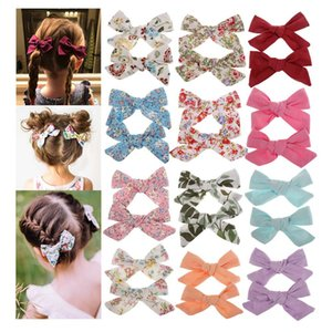 Lovely Baby Girls Print Flower Bohemian Style Bow BB Hair Clips Headwear Children Cute Cotton Hairpins Hair Accessories BFJ640