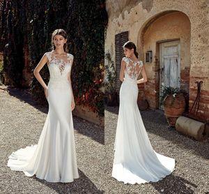 Vestido de novia de sirena con apliques de encaje Berta baratos Vestido de novia sexy Bohemian Beach Boho Plus Size Vintage