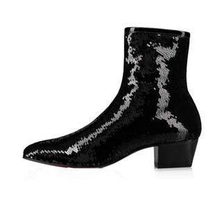 Süper Kalite Ayak bileği Boot Outdoor'un ile Sonbahar / Kış Roadie Flats Erkekler Glitter Kırmızı Alt Retro Boots Man Patik Parti Elbise Yürüyüş