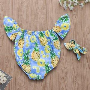 Ins Bebek Bebek Kız Tulum Ananas Baskılı Fly Kollu Çocuk Onesies Tulumlar Tulumları Çocuk Bebekler Tulum Kafa ile 14460
