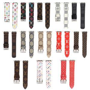 Top Luxus Designer Leder Uhrenarmband für Iwatch 38mm 22mm 42mm 24mm Größe Bands Armband für Apple Watch Uhrenarmbänder 13Styles
