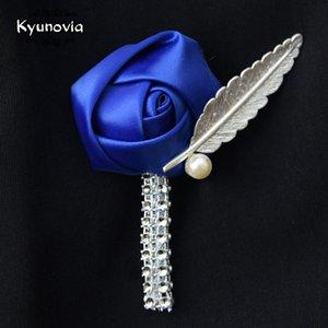 Kyunovia Flor Pin da lapela dos homens Boutonniere do casamento Handmade casamento broche na lapela lapela dos noivos Boutonnieres Fe55 wkOdY