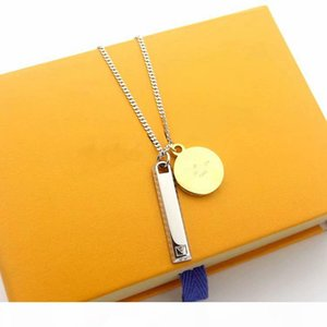 Hot Sale Fashion Men Lady Titanium steel V Letter 18K Plated Gold Long Necklaces With Double Pendant Sweater Chain