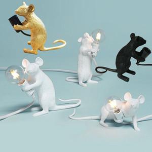 현대 미술 귀여운 화이트 블랙 골드 수지 동물 쥐 마우스 테이블 램프 조명 룸 장식 마우스 데스크 램프 키즈 선물 사랑스러운 밤 빛