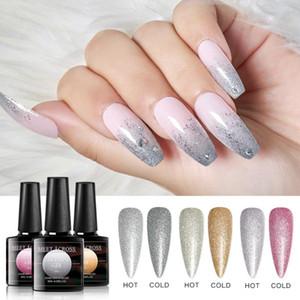 Thermal Color Changing Gel Holographic Glitter Effect Gel Nail Polish Soak Off UV Polish Nail Art varnish Lacquers Hybrid