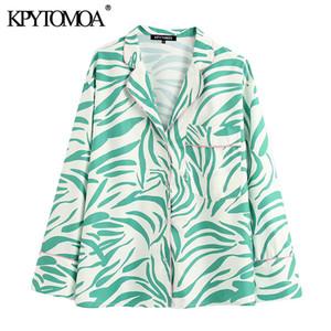 KPYTOMOA Femmes 2020 Mode Imprimé poches en vrac Blouses Vintage manches longues col à revers Femme Chemises Blusas Tops Chic