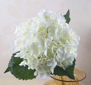 꽃 300pcs 55cm 인공 수국 꽃 머리 가짜 실크 단일 진짜 터치 수국 웨딩 센터 픽스 홈 장식을위한 15 색