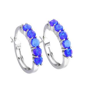 Toptan 10 Çiftler Kadınlar Moda Takı için Trendy Gümüş Kaplama Geometrik Mavi Opalite Opal saplama Küpe