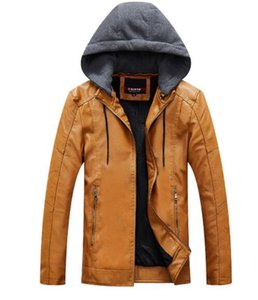 Mens PU Leather Designer Jackets Hooded Slim Fit Winter Fashion Casual Coats Jacket