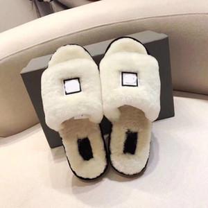 Lüks Tasarımcı Kadınlar'S Avustralya Fluff Evet Slayt Tasarımcı Kürklü Slaytlar Kürk Terlik Kadın Kış Ayaklı Fllops Ayakkabı