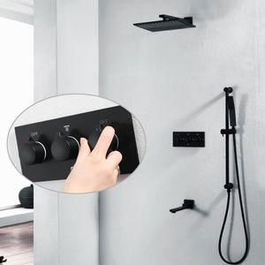 Alta calidad negro mate grifo de la ducha grifo de la ducha del baño grifos mezclador de baño 3 Way Hot Cold rain shower head set