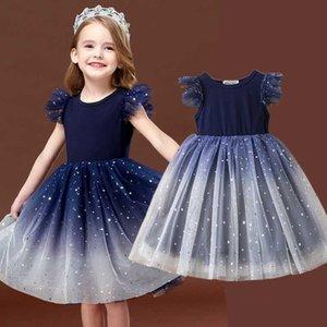 Navy Blue Dress for Girls lantejoulas plissado vestidos de tutu Casual elegante da festa Frocks Crianças Shool desgaste do verão 3-8T crianças roupas