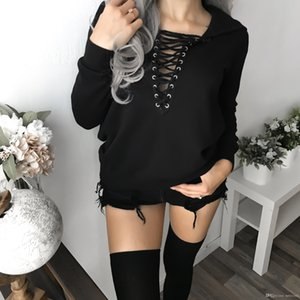 Sexy Harajuku Casual Coat with Hat Lace Up Pullover Loose Women Hoodies Autumn Female Sweatshirt V-neck Kpop Vogue Black Top